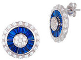 Lord & Taylor White and Blue Cubic Zirconia Circle Earrings
