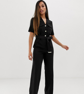 Lipsy Petite utility jumpsuit with button detail in black