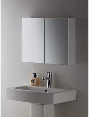 John Lewis & Partners Double Mirrored Bathroom Cabinet, White Metal
