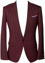 Choies Men's Burgundy Striped Slim Blazer With One-button