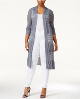 Belldini Plus Size Pointelle-Knit Duster Sweater
