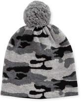 Neiman Marcus Cashmere Camo Knit Beanie Hat
