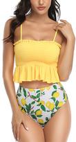 Coeur De Vague Coeur de Vague Women's Bikini Bottoms Yellow - Yellow Shirred Ruffle-Accent Bikini Top & Green Lemon Bottoms - Women
