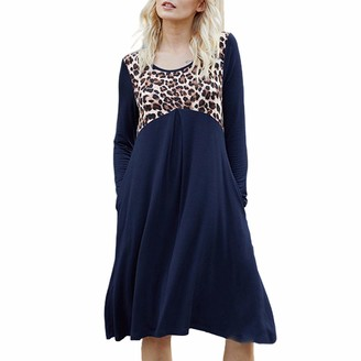 CURT SHARIAH Women Mini Shirt Dresses Long Sleeve Casual Tunic Dress A-Line Loose T-Shirt Dress Dark Blue