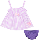 Sweet & Soft Pink Bow Seersucker A-Line Dress & Purple Diaper Cover - Infant