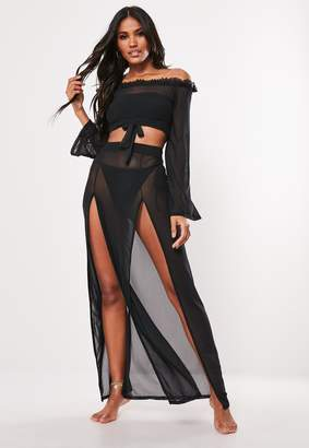 Missguided Black Mesh Side Split Maxi Skirt