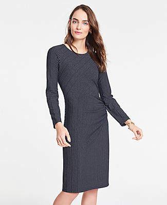 Ann Taylor Mixed Pinstripe Knit Sheath Dress