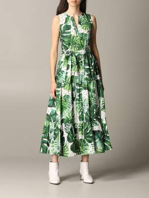 Twin-Set Long Dress With Tropical Pattern