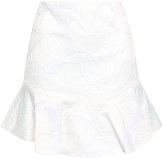 Alice + Olivia Eriko Fluted Cotton-blend Floral-jacquard Mini Skirt