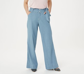 G.I.L.I. Got It Love It G.I.L.I. Petite Wide Leg Denim Pants with Tie Detail