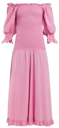 Rhode Resort Eva Off The Shoulder Smocked Cotton Dress - Womens - Pink