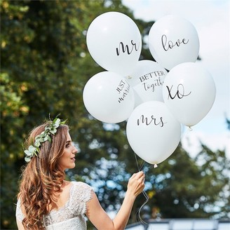 Ginger Ray Botanic Wedding White Balloon Bundle Slogans