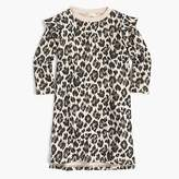 J.Crew Girls' ruffle-trimmed long-sleeve dress in leopard
