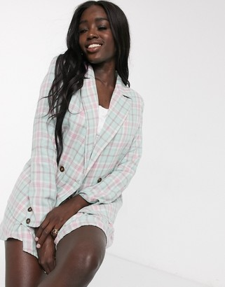 Daisy Street oversized blazer in check co-ord