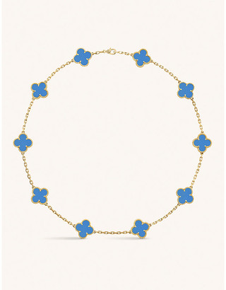 Van Cleef & Arpels Vintage Alhambra yellow-gold agate necklace