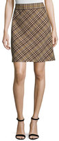 Theory High-Waist Bexley Plaid Mini Skirt, Brown Multi
