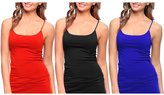 Dinamit Jeans 3 Pack Women Seamless Camisole Tank Top with Adjustable Spaghetti Strap -M/L