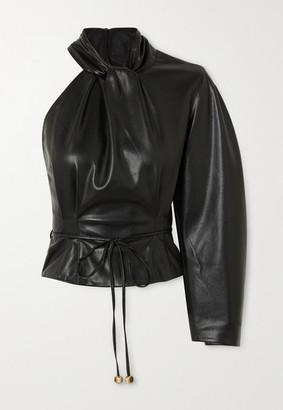 Nanushka Elodia One-sleeve Vegan Leather Top - Black