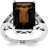 jewelryPot Sterling Silver Rhodium Smoky Quartz Ring. Gem Wt- 6.8ct