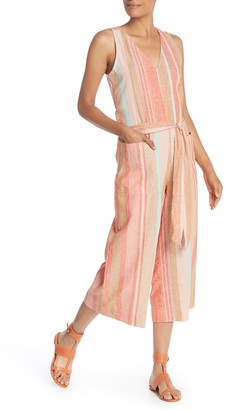BeachLunchLounge Striped Linen Blend Jumpsuit
