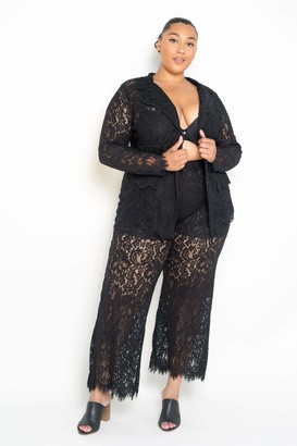 Couture Buxom Lace Tailored Jacket & Pants Set in Black Size 1X