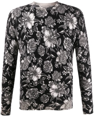 Laneus Floral-Print Crew Neck Jumper