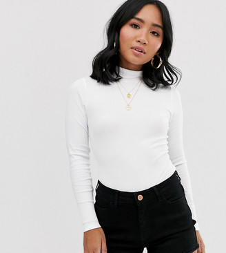 Asos DESIGN Petite turtle neck rib long sleeve bodysuit in white