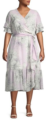 Vince Camuto Plus Floral Ruffled Wrap Dress