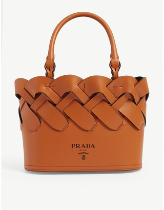 Prada Intreccio small leather tote bag