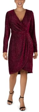 Julia Jordan Velvet Foil Faux-Wrap Sheath Dress