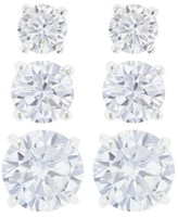 Women's Sterling Silver Stud 3 Pairs Earring Cubic Zirconia in Gift Box - Silver/Clear