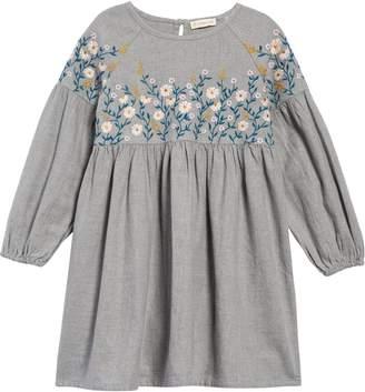 Tucker + Tate Flower Embroidered Long Sleeve Dress