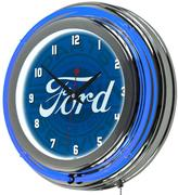 Ford 3 in. x 14 in. Genuine Parts Chrome Double Rung Neon Wall Clock