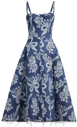 Junya Watanabe Floral-embroidered Denim Dress - Womens - Blue Multi