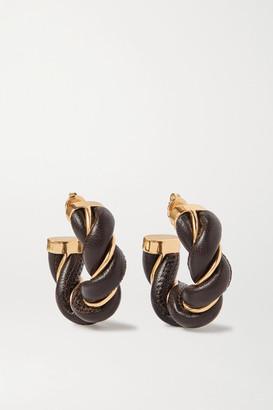 Bottega Veneta Gold-tone And Leather Hoop Earrings - Dark brown