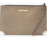 Dorothy Perkins Womens Gold Metal Corner Wristlet Clutch Bag- Gold