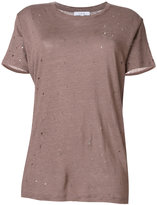 IRO distressed knitted T-shirt - women - Linen/Flax - XS