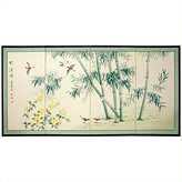 Oriental Furniture Asian Decor and Gifts, 36 by 72-Inch Bamboo and 5 Birds Chinese Art Oriental Wall Screen Painting