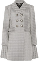 Alexander McQueen Double-breasted Houndstooth Tweed Coat - Black