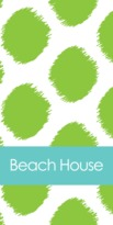 The Well Appointed House Personalized Beach Towel with Green Ikat Funk Pattern
