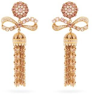 Dolce & Gabbana Crystal-embellished Tasseled-drop Clip Earrings - Gold