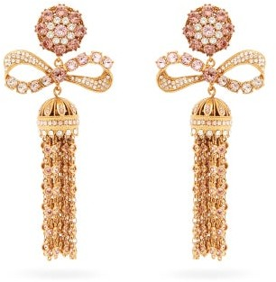 Dolce & Gabbana Crystal-embellished Tasseled-drop Clip Earrings - Womens - Gold
