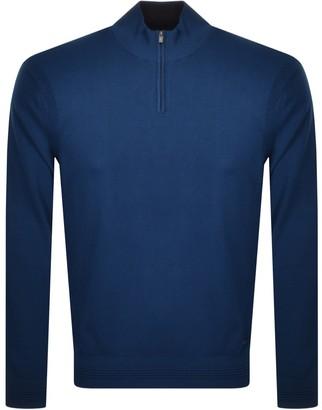Giorgio Armani Emporio Half Zip Knit Jumper Blue
