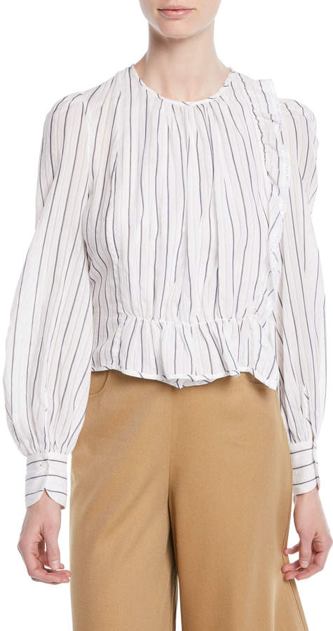 See by Chloe Striped Ruffle Long-Sleeve Shirred Blouse