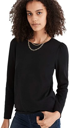Madewell Diary Puff-Sleeve Tee (True Black) Women's Clothing