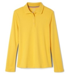 French Toast Little Girls Long Sleeve Interlock Knit Polo with Picot Collar