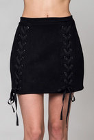 Honey Punch Black Faux Suede Skirt