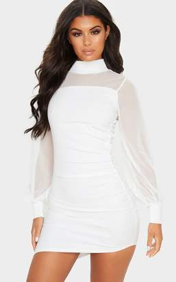 PrettyLittleThing Black Mesh Bodice Long Sleeve Ruched Bodycon Dress