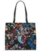 Dorothy Perkins Womens Black Floral Embroidered Shopper Bag- Black