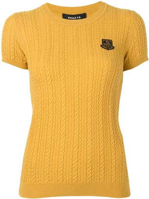 Paule Ka Logo Patch Cable-Knit Top